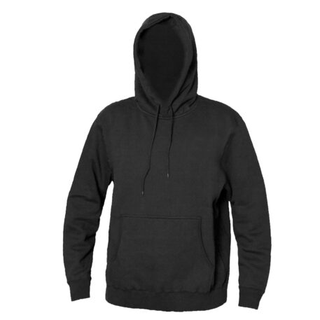 Blank Hooded Sweatshirt Black Front View