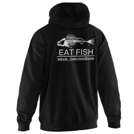 Eat Fish Hooded Black Sweatshirt With White Logo Back