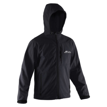 Midway Hooded Softshell Jacket Black Front View