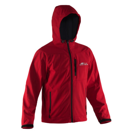 Midway Hooded Softshell Jacket Red Front View