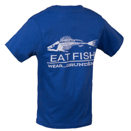 Eat Fish Kids T-Shirt Blue With White Logo Back View