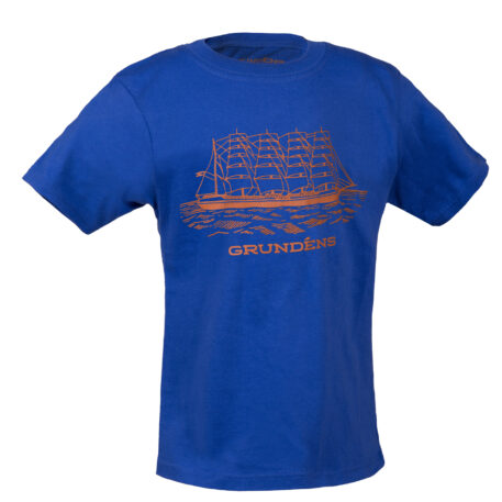 Ship Logo Kids T-Shirt Blue Front View